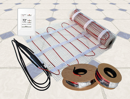 ComfortTile radiant floor heating mat and cable.